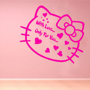 Hello Kitty Love Kids Quote Wall Sticker Art Decoration Bedroom Girls ...