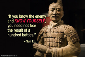"""... , you need not fear the result of a hundred battles."""" ~ Sun Tzu"""