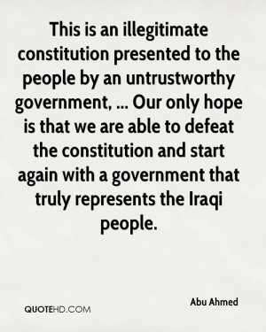 illegitimate constitution presented to the people by an untrustworthy ...