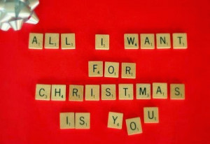 all i want for christmas is you red greeting christmas card