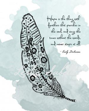Emily Dickinson Quote, Feather - 8x10 Metallic Print