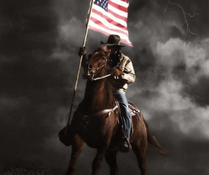 cowboy with flag Image