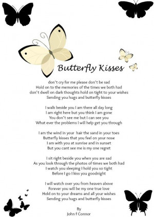 ... to mourn Im still here MY ANGEL BUTTERFLY KISSES letter to heaven