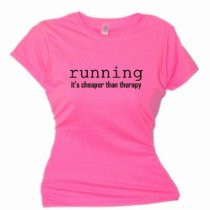 ... SoftStyle T-Shirt-running is cheaper than therapy-Pink Azalea-Black