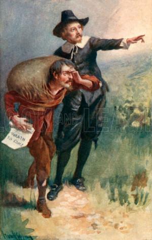 Evangelist points the way. Illustration for Pilgrim's Progress by John ...