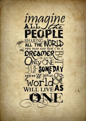 imagine all the people the beatles picture quote