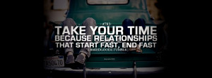 Click to view take your time love quote facebook cover