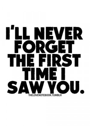 ll Never Forget The First Time I Saw You.