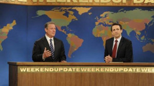 Al Gore appearing on Saturday Night Live's 'Weekend Update'.
