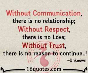 Without Communication, there is no relationship; Without Respect ...
