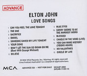 ELTON JOHN Love Songs (1996 US 15-track radio promotional CD single ...