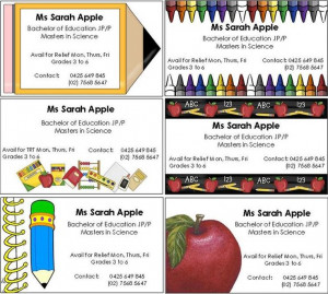 FREE Editable Business Cards for Substitute Teachers