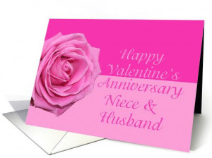 niece & husband Pretty Pink Rose Valentine´s Day Anniversary card
