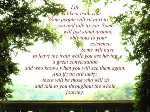 Life is like a train ride...