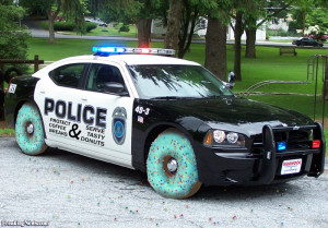Police Car with Donut Wheels - pictures