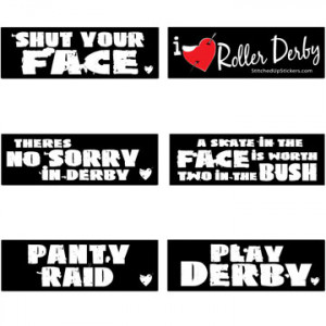derby stickers sayings words stickers 6 pack roller derby stickers