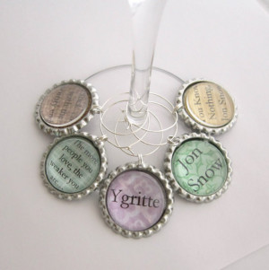 Jon Snow, Ygritte Game of Thrones Quotes & Characters Wine Glass Charm