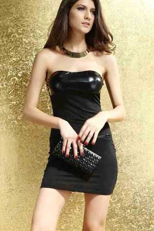 Black Pu Strapless Sweetheart Sexy Dress