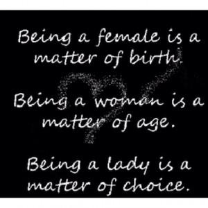 Choose lady-like behavior..always!