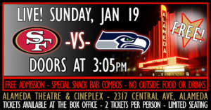 49ers vs. Seahawks in a Movie Theater | Alameda | Funcheap