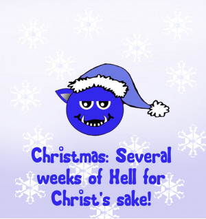 Christmas greeting card with blue Christmas devil and funny quote.