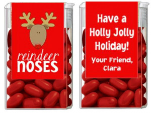 Christmas Holiday Reindeer Noses Mints Tic Tac Party Candy Wrappers ...