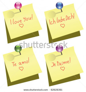 ... love you words in english, german, spanish and french - stock vector