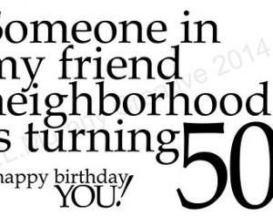 , 50th Birthday, Turning 50, Milestone Birthday, 50th Friend Birthday ...