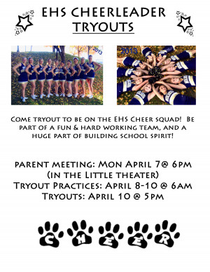 EHS Cheerleader Tryouts April 7, 6pm