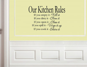 Kitchen Rules - Vinyl wall decals quotes sayings words On Wall Decal ...