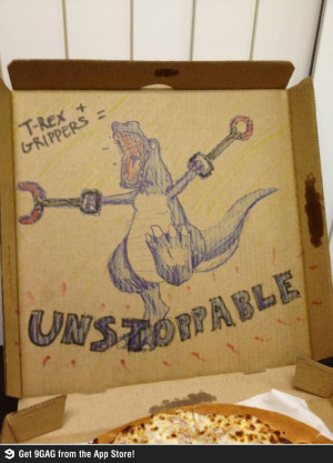Asked for Pizza Hut to draw a dinosaur on the box...