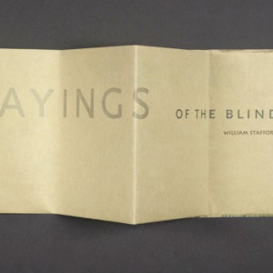 Sayings of the Blind by Roni Gross. Poetry by William Stafford.