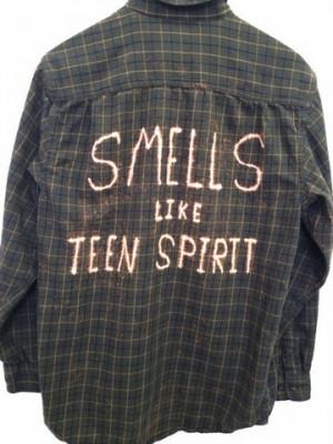 ... Teen Spirit Quote Shirt in Plaid Green Flannel - Nirvana Lyric Shirt