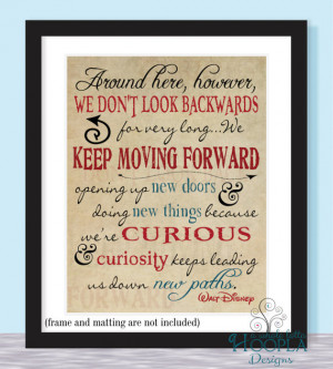 Walt Disney Keep Moving Forward Quote - 11x14 - Typographic Print ...