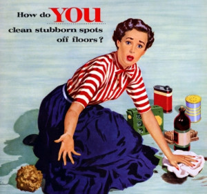 1950s, 50s, advertising, blue, cleaning, housewife, red, sexism ...