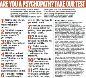 Are YOU a psychopath? Take the test and find out!