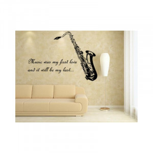 Saxophone and quote wall art sticker decal.