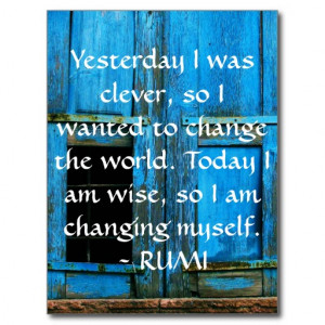 Inspirational RUMI quote about changing yourself Postcard