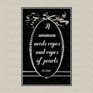 CoCo Chanel Pearls Quote Typography Digital Download for Fabric Iron ...