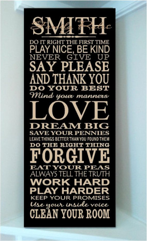 Beautiful 10x24 wooden board sign with subway art quote..Family Rules ...