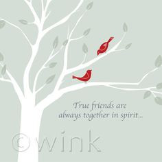 True Friends - Birds in Tree friendship quote print. via Etsy.