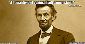 Inspirational quote by Abraham Lincoln on unity