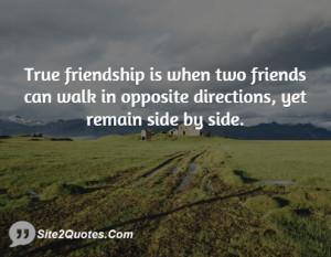 True friendship is when two friends can walk in opposite directions ...