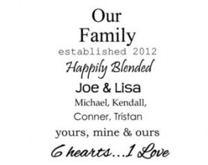 Our Family Happily Blended - Vinyl Wall Quote ...