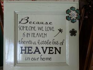 Heaven quote on old cabinet door.