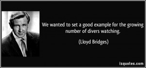 We wanted to set a good example for the growing number of divers ...