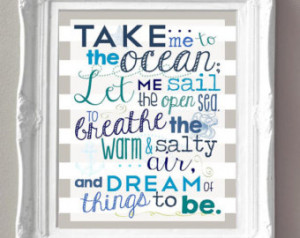 ... - DIGITAL FILE - Blues, Greens and Aquas -Original Quote - Wall Art