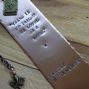 Copper Stamped Metal Bookmark Ernest Hemingway Quote