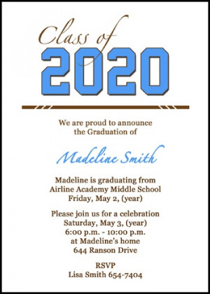 Junior High School Class Graduate Announcement Cards
