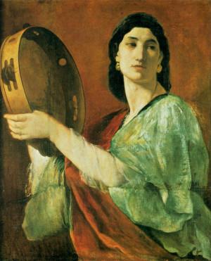 Miriam, de zuster van Mozes en Aäron, zet de Israëlitisch vrouwen ...
